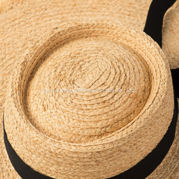 06064022d95d4 ... 2019 New Style Spring Summer Beach Floppy Raffia Straw Hat For Women ...