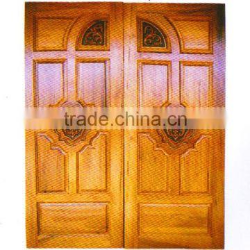 Engraving Solid Wood Double Door Real Thai Teak Wood Main Door