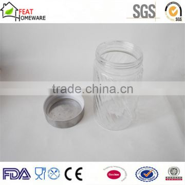 Wholesale high quality glass jar glass food storage pot with metal cap