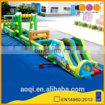 AOQI EN14960 certificate best price jungle theme kids inflatable obstacle course playground for sale