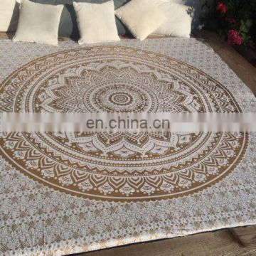 Golden Color Indian Ombre Mandala Duvet Cover Handmade Cotton Quilt Cover SSTH54