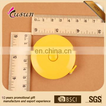 Best Advertising round shape custom printed logo promotional gift plastic tailor measuring tape