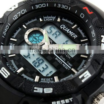Brand New Mens Rubber Strap Blue Analog Digital Dual Dial Sport Watch
