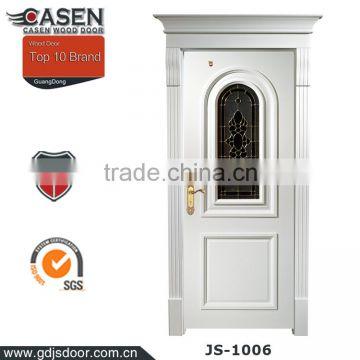 Hot! Fancy art glass wood door price for homes of Wooden