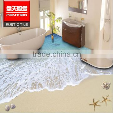 Epoxy 3d Wall And Floor Tiles Sandy Beach Glazed Ceramic Bathroom