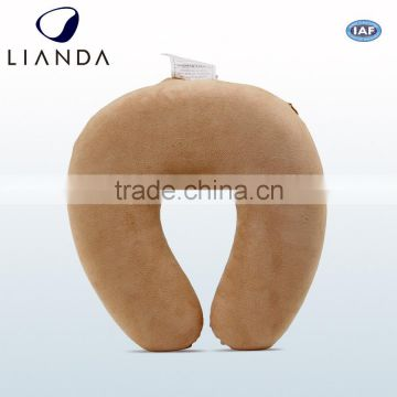 Cute Fast Delivery plush fabric ergonomic memory foam travel neck pillow with simple logo