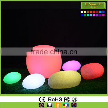 Stone shape rgb led light color changing battery charge led garden lamp mood light