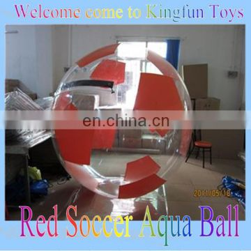 PVC/TPU red soccer aqua ball