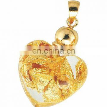 Gold Leaf Heart Pendant With Necklace