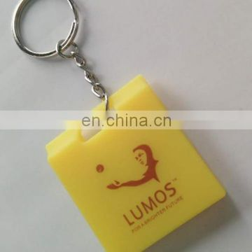 2017 3d OEM Custom LOGO Soft Silicone Rubber box shaped keychain