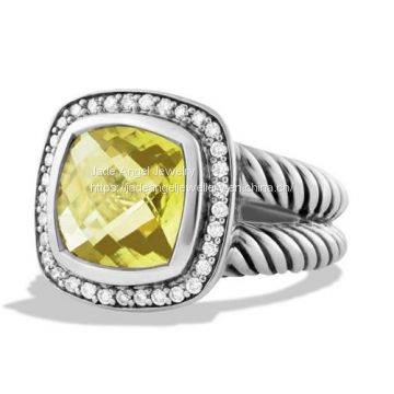 Sterling Silver 925 11mm Lemon  Citrine Albion DY Ring