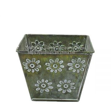 square shape zinc iron metal flower pot planter from china supplier