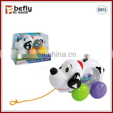 Pull and push cartoon dog shantou toys with music