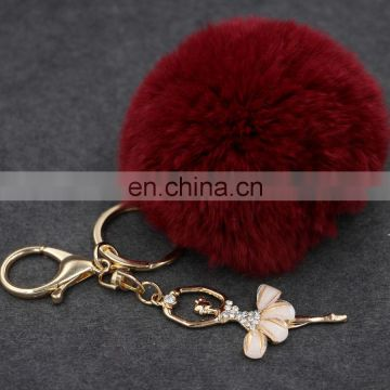 Cute Rabbit Fur Key Chain Pom Pom Car key Ring Crystal Bag Decoration
