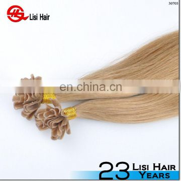 100% human hair u tip,nail tip hair extensions salon hair product