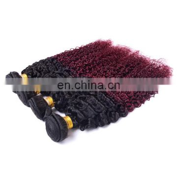 hot sale curly human hair extension ombre color 1b/99J remy weave