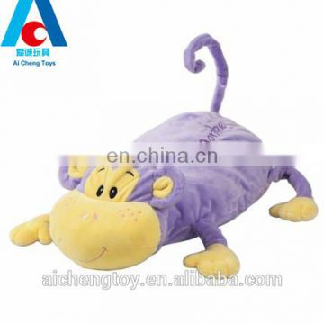 high quality baby sleeping soft purple monkey plush stuffed pillow toy