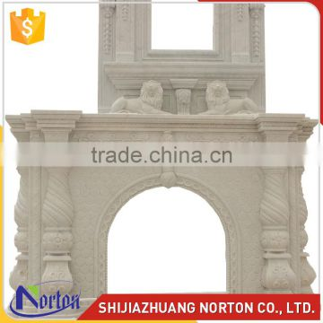 luxury hotel decorative white marble double fireplace mantel NTMF-F860S