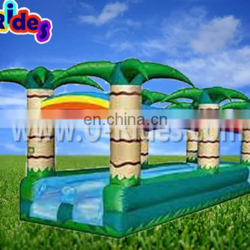 colorful coconut tree inflatable water slide/water slip