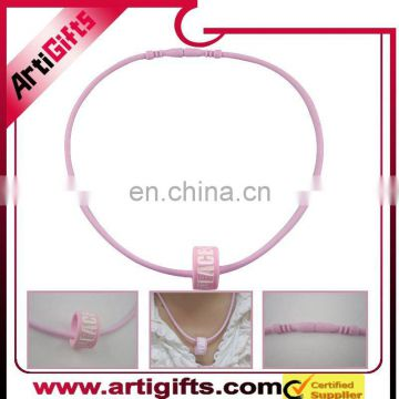Pink color raised logo silicon necklace