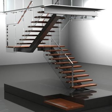 simple design wooden staircase with open riser