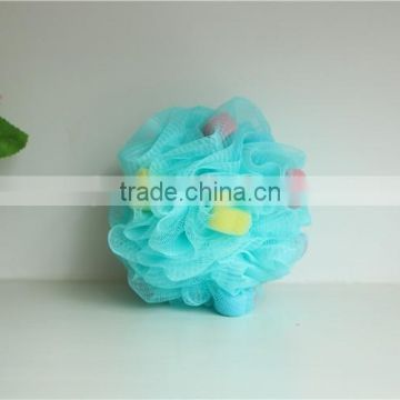 wholesale bubble body cleaning cool bath ball with colorful heart shaped sponge grains