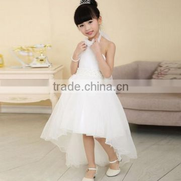 Fashion Children Girls Mesh Halter High Waist Asymmetrical Hem Ball Gown Tutu Party Dress/Flower girl dress