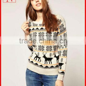 Jacquard Knitting Pattern Women Christmas Jumper Reindeer Sweater Of