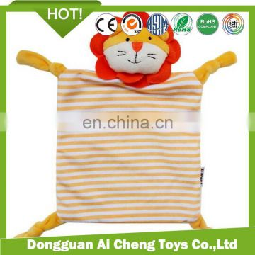 Hign quality strip printting plush baby toy security doudou blanket