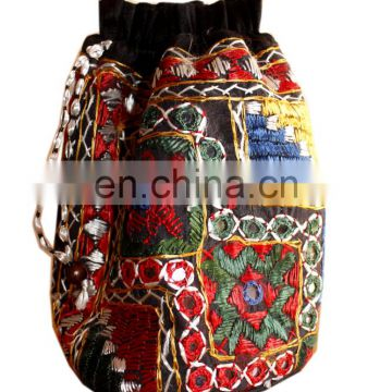 Hand made mirror work Potli Embroidered Designer Indian Purse Hippie Boho Clutch Sequins Craft pouch Bag Wedding Party potli bag