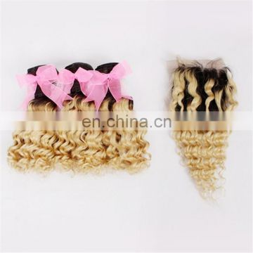 Factory wholesale ombre color two tone deep wave hair weaving and closure 100%real human hair remy peruvian hair