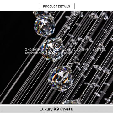 New long spiral Crystal Chandelier Light Fixture for Lobby Staircase Lustre Stairs Foyer Large chandeliers Lamp Stair Lighting
