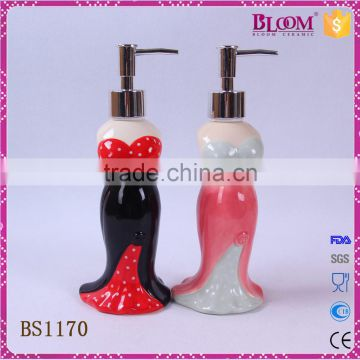 delicate unique shape small ceramic lotion dispenser