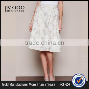 MGOO New Arrival 2016 Beige Pleated Midi Skirt For Ladies High Waist Vintage Floral Embroidery Skirts