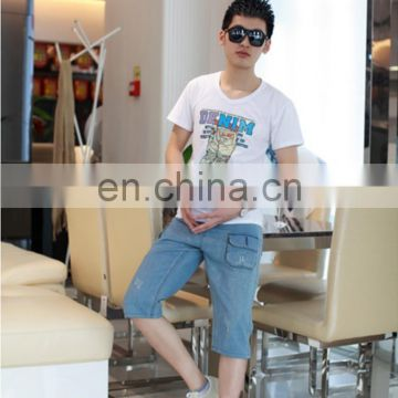 Peijiaxin Latest Design Casual Style Jeans Pattern Men Screen Print Tshirt