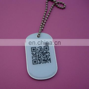 oval human prinring QR code fashion dog tag for gifts