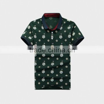 Fashion Print Summer Men's Polo Shirt with Ribbon