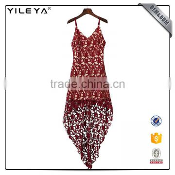 China dress manufacturer women dress fashion short front long back casual red hollow out lace dress