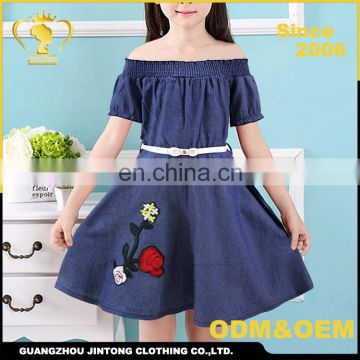 Hand Embroidery Designs Denim One Piece Fancy Dresses For Baby Girl