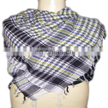 cotton knitted jacquard checked scarf with fringe