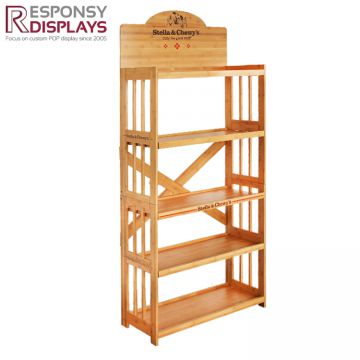 Hot sale customized 5 layer bamboo floor display stand for pet products