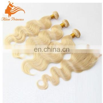 Top 8A Grade Pure Blonde Weave Vrigin Brazilian Hair 3 Bundles With Closure On Hot Sale