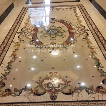 custmized patter flower floor waterjet medallion
