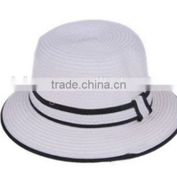 New Colorful Paper Straw Handmade Bucket Sun Hat Fashion Beach Straw Hat fedora with ribbon