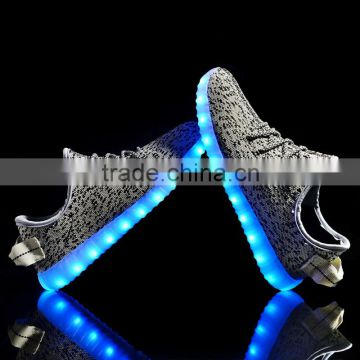 Hot selling yeeze shoes adult lighting shoes led shoes with USB charge led light up yeezy casual shoes