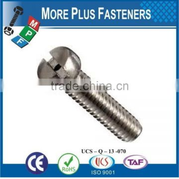 Made in Taiwan Stainless Steel Slotted Drive Fillister Head Machine Screw