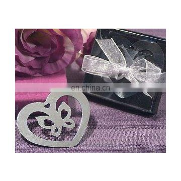Chrome Heart Shaped Bookmark w/ Butterfly