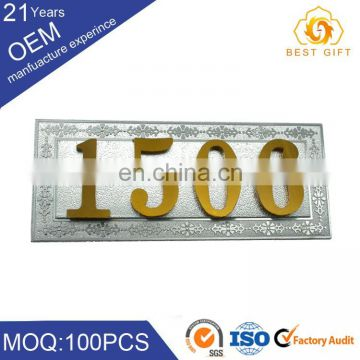 Cheap stainless steel design custom metal hotel room number signs