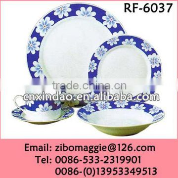 Hot Sale Daily Used Round Shape Floral Print Cheap White Porcelain China Dinnerware Set for Promotion Gift