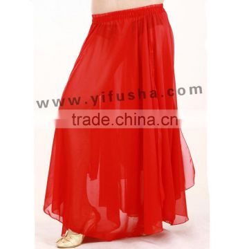 Wholesale belly dance costumes,ladies beautiful red chiffon long skirt for belly dancing